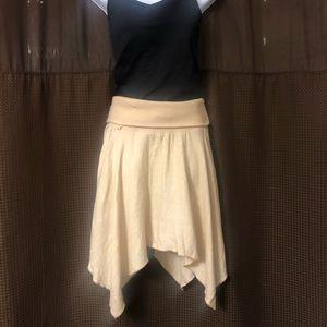 Tan Linen Drawstring Skirt